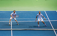 Switserland, Genève, September 19, 2015, Tennis,   Davis Cup, Switserland-Netherlands, Doubles: Dutch team Matwe Middelkoop/Thiemo de Bakker (R)<br /> Photo: Tennisimages/Henk Koster