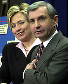 Washington, DC - December 1, 2003 -- United States Senators Hillary Rodham Clinton (Democrat of New York), left, and Jack Reed (Democrat of Rhode Island), right, brief reporters on their recent trip to Afghanistan and Iraq in the United States Capitol in Washington, DC on December 1, 2003..Credit: Ron Sachs / CNP