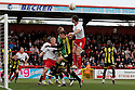 Jon Ashton of Stevenage goes close with a header. - Stevenage v Brentford - npower League 1 - Lamex Stadium, Stevenage - 21st April, 2012. © Kevin Coleman 2012