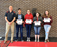 Photo Submitted<br /> MCHS Students of the Week chosen for the week of Feb. 11 to Feb. 15, are (left), Mr. Wilkie; freshman Ricardo Salas; sophomore Stormi Matthews; junior Ashley Patterson, and senior Bailey Jennings.