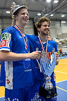 GRONINGEN - Volleybal, Abiant Lycurgus - Orion, Martiniplaza, Supercup , seizoen 2017-2018, 01-10-2017,  Lycurgus speler Auke van der Kamp en Lycurgus speler Sam Gortzak