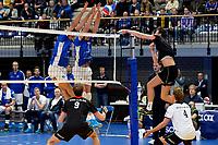 GRONINGEN - Volleybal, Lycurgus - Taurus, Supercup, seizoen 2018-2019, 29-09-2018,  blok met Lycurgus speler Hossein Ghanbari en Lycurgus speler Wytze Kooistra