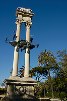 Christopher Columbus monument in the Murillo Gardens, near the ramparts of the Alcazar of Seville, Seville, Andalusia, Spain.