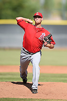 Los Angeles Angels of Anaheim pitcher Tyler Carpenter (44) during an Instructional League game against the Milwaukee Brewers on October 9, 2014 at Tempe Diablo Stadium Complex in Tempe, Arizona.  (Mike Janes/Four Seam Images)