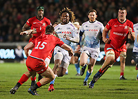 7th February 2020; AJ Bell Stadium, Salford, Lancashire, England; Premiership Cup Rugby, Sale Sharks versus Saracens;  Marlon Yarde of Sale Sharks is tackled by Matt Gallagher of Saracens