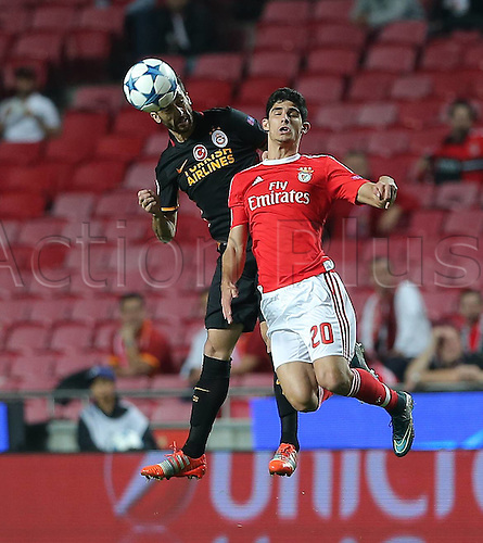 03.11.2015. Lisbon, Portugal.  UEFA Champions League Group C football match between Benfica and Galatasaray at Estadio da Luz Stadium in Lisbon, Portugal. Goncalo Guedes 20 of Benfica and Bilal Kisa of Galatasaray.