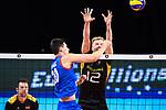13.09.2019, Paleis 12, BrŸssel / Bruessel<br />Volleyball, Europameisterschaft, Deutschland (GER) vs. Serbien (SRB)<br /><br />Angriff Srecko Lisinac (#20 SRB) - Block Anton Brehme (#12 GER)<br /><br />  Foto © nordphoto / Kurth