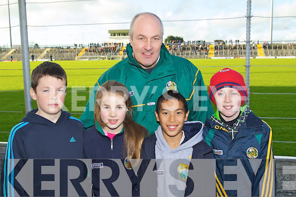 Kevin O'Connor, Aoife O'Connor, Brendan O'Connor, Rian McLysaght and Stephen Gallan Kerry supporters at the U-21 football Munster final at Austin Stack Park on Wednesday evening.