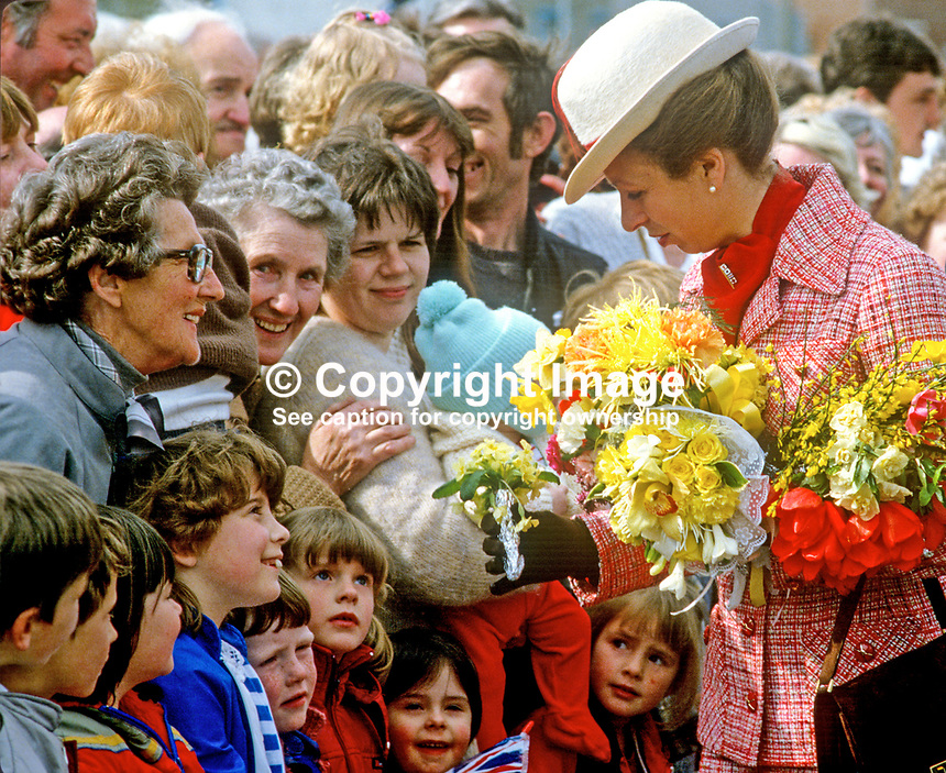 Princess Anne on a May 1985 Royal Visit to N Ireland meets villagers, young and old in the Co Down fishing village of Portavogie. She was there to officially reopen the harbour. 19850502a.<br /> <br /> Copyright Image from Victor Patterson, 54 Dorchester Park, Belfast, UK, BT9 6RJ<br /> <br /> t1: +44 28 9066 1296<br /> t2: +44 28 9002 2446<br /> m: +44 7802 353836<br /> <br /> e1: victorpatterson@me.com<br /> e2: victorpatterson@gmail.com<br /> <br /> www.victorpatterson.com<br /> <br /> IMPORTANT: Please see my Terms and Conditions of Use at www.victorpatterson.com