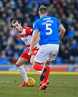 John Marquis of Doncaster Rovers goes one on one with Matthew Clarke of Portsmouth during Portsmouth vs Doncaster Rovers, Sky Bet EFL League 1 Football at Fratton Park on 2nd February 2019