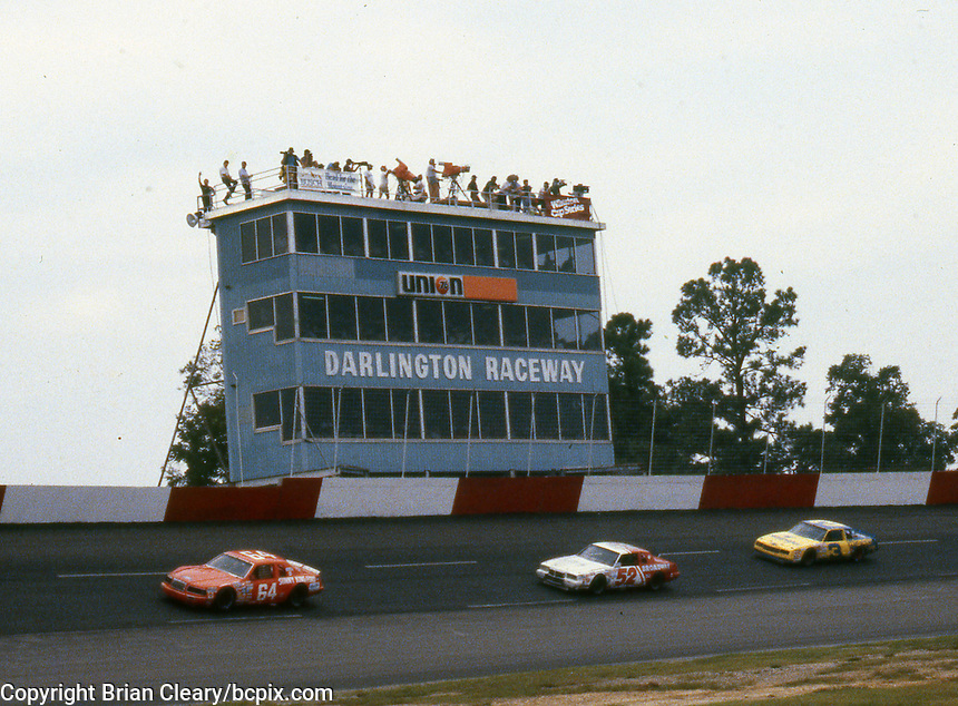 Cars race past the press box during the Southern 500 at Darlington Raceway in Darlington SC on September 1, 1985. (Photo by Brian Cleary/www.bcpix.com)