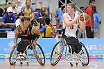 November 18 2011 - Guadalajara, Mexico:  Patrick Anderson of Team Canada protects the ball in the CODE Alcalde Sports Complex at the 2011 Parapan American Games in Guadalajara, Mexico.  Photos: Matthew Murnaghan/Canadian Paralympic Committee