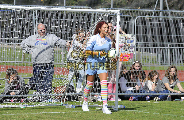 LONDON, ENGLAND - AUGUST 31: Amy Childs attends the Soccer Six Fest, Mile End Stadium, Burdett Rd., on Sunday August 31, 2014 in London, England, UK. <br /> CAP/CAN<br /> &copy;Can Nguyen/Capital Pictures