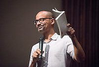 "Pulitzer Prize-winning author Junot Díaz speaks to a capacity crowd at Occidental College on Tuesday, September 22, 2015 in Thorne Hall. Díaz is the author of the critically acclaimed Drown; The Brief Wondrous Life of Oscar Wao, which won the 2008 Pulitzer Prize and the National Book Critics Circle Award; and This Is How You Lose Her, a New York Times bestseller and National Book Award finalist. He is the recipient of a MacArthur ""Genius"" Fellowship, PEN/Malamud Award, Dayton Literary Peace Prize, Guggenheim Fellowship and PEN/O. Henry Award. The event was sponsored by the English Dept., OxyArts, Remsen Bird Fund and the Dean of the College.<br /> (Photo by Marc Campos, Occidental College Photographer)"