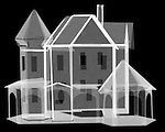 X-ray image of a paper house (white on black) by Jim Wehtje, specialist in x-ray art and design images.