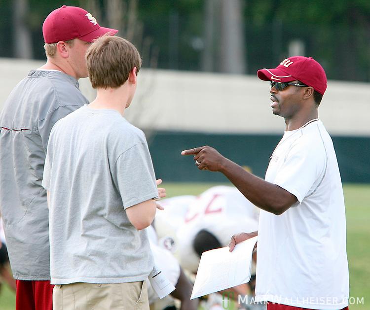 Florida State coach Dexter Carter at the FSU football practice field Monday March 26, 2007.  (Mark Wallheiser/TallahasseeStock.com)