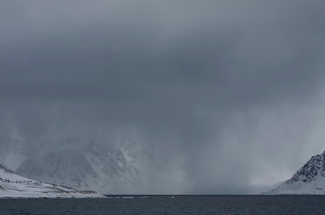 Snow flurry just south of Danskoya. Northern Spitsbergen