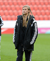 20160408 - ROTHERHAM , ENGLAND : Belgian Julie Biesmans pictured during the female soccer game between England and The Belgian Red Flames - Belgium , the fourth game in the qualification for the European Championship in The Netherlands 2017  , Friday 8 th April 2016 at AESSEAL New York Stadium in Rotherham , England . PHOTO DAVID CATRY