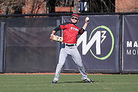 GREENSBORO, NC - FEBRUARY 25: Mike Handal #7 of Fairfield University throws the ball to the infield during a game between Fairfield and UNC Greensboro at UNCG Baseball Stadium on February 25, 2020 in Greensboro, North Carolina.