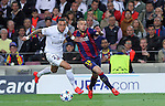 21.04.2015 Barceloona. UEFA Champions League, Quarter-finals 2nd leg. Picture show Van der Wiel (L) and Jordi Alba (R) in action during game between FC Barcelona against Paris Saint-Germain at Camp Nou