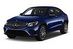 2018 Mercedes Benz GLC Coupe GLC300 4WD 5 Door SUV angular front stock photos of front three quarter view