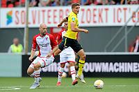 EMMEN - Voetbal, FC Emmen - AZ, De  Oude Meerdijk, Eredivisie, seizoen 2018-2019, 19-08-2018,  FC Emmen speler Nicklas Pedersen met AZ speler Guus Til