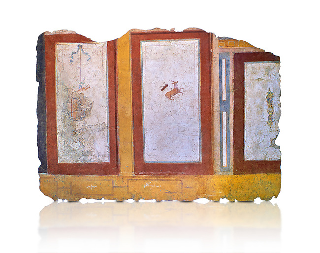 Roman fresco wall decorations of  Room E10 0f La Domus, Rome. Museo Nazionale Romano, 130-140AD ( National Roman Museum), Rome, Italy. Against a white background.<br /> <br />  The white-ground central panel had a figured decoration, already obliterated by repairs carried out in antiquity. In the squares to the sides of the upper area, swathes of white fabric bordered by green leaves and berries are depicted against a purplish red background. The side walls are decorated in a similar symmetrical way; in the squares there are various decorative elements, a stag in flight with a quiver nearby (perhaps an allusion to the myth of Actaeon who was transformed into a stag by Artemis, or, more simply, to hunting), a small head (gorgoneion) contained between volutes.