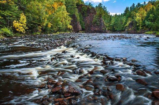 The Bad River flows through Copper Falls State Park in Ashland County, Wisconsin in early autumn.