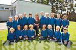 Sad to see you go - Meg Mitchell pictured seated with her pupils(juniors, seniors & 1st class) at Scoil Mhichíl Naofa, Dún Géadán will be a big loss as she retires from teaching, pictured here front l-r; Eilín Ní Mhurchú, Megan Ní Shé, Saoirse Ní Bhriain, Tomas Ó Bhriain, Grace Ware, Caoimhe Ní Fhearais, Jake Warburton, Alex Ó Conchúr, back l-r; Míchéal Ó Scanláin, Aoibhe Ní Leidhin, Shauna Gúgán, Muirinn Ní Chonaill, Robyn Cournane, Meg Mitchell(Teacher), Rebecca Ní Shé, Aoife Ní Luanaigh, Kyle Hassel, Seán Gúgan agus Jessica Nic An Ghaill....
