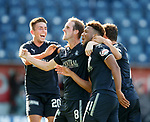 Myles Hippolyte scores the second goal for Falkirk and celebrates with Mark Kerr and Kevin O'hara
