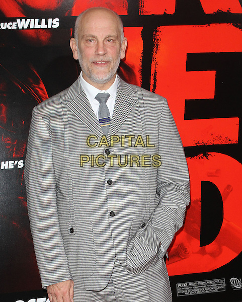 "JOHN MALKOVICH.""RED"" Los Angeles Special Screening held at Grauman's Chinese Theatre, Hollywood, California, USA. .October 11th, 2010 .half length beard facial hair white shirt checked check tie hand in pocket.CAP/ADM/KB.©Kevan Brooks/AdMedia/Capital Pictures."