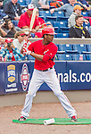 7 March 2015: Washington Nationals outfielder Michael Taylor stands on deck during Spring Training action against the St. Louis Cardinals at Space Coast Stadium in Viera, Florida. The Nationals rallied to defeat the Cardinals 6-5 in Grapefruit League play. Mandatory Credit: Ed Wolfstein Photo *** RAW (NEF) Image File Available ***