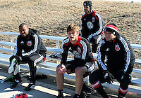WASHINGTON, DC - February 06, 2012: Robbie Russell, Lance Rozeboom, Daniel Woolard and Neven Markovic of DC United during a pre-season practice session at Long Bridge Park, in Arlington, Virginia on February 6, 2013.