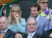 OIC - ENTSIMAGES.COM -  Bradley Cooper watches Andy Murray of Great Britain celebrates his win in the Gentlemen's Singles Final match against Novak Djokovic of Serbia of the Wimbledon Lawn Tennis Championships at the All England Lawn Tennis and Croquet Club 7th July 2013     Photo Ents Images/OIC 0203 174 1069