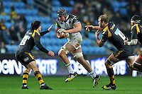 Charlie Ewels of Bath Rugby goes on the attack. European Rugby Champions Cup match, between Wasps and Bath Rugby on December 13, 2015 at the Ricoh Arena in Coventry, England. Photo by: Patrick Khachfe / Onside Images