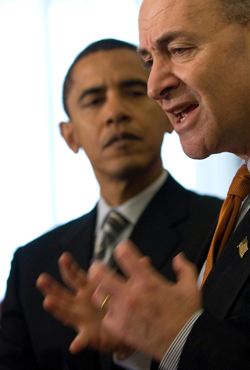 Sen. Barack Obama, D-Ill., and Sen. Chuck Schumer, D-N.Y., unveil their Deceptive Practices and Voter Intimidation Prevention Act of 2007 during a news coneference in the U.S. Capitol on Wednesday, Jan. 31, 2007.