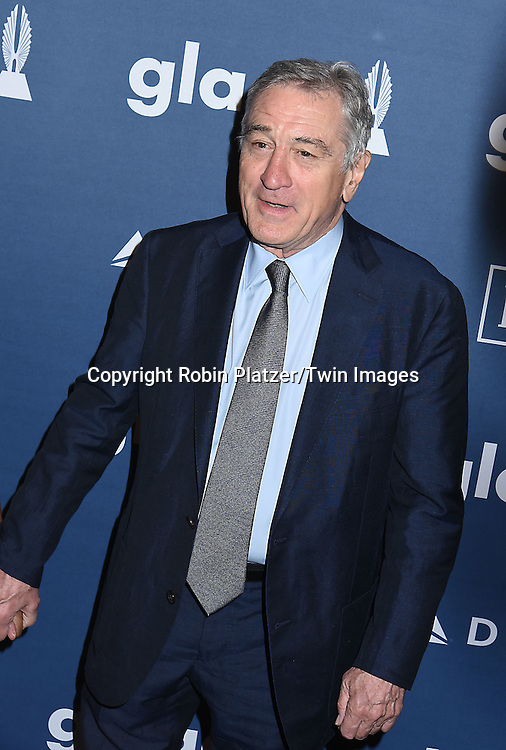 Robert De Niro attends the 27th Annual GLAAD Media Awards on May 14, 2016 at the Waldorf Astoria Hotel in New York City, New York, USA.<br /> <br /> photo by Robin Platzer/Twin Images<br />  <br /> phone number 212-935-0770