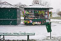 Europe/Voïvodie de Petite-Pologne/Cracovie:   Petits kiosques à souvenirs le long de la Vistule