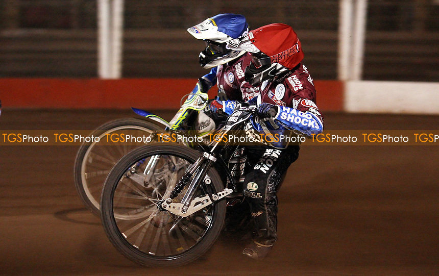 Heat 11: Lee Richardson (red) and Justin Sedgmen (blue) - Lakeside Hammers vs Belle Vue Aces, Elite League at the Arena Essex Raceway, Pufleet - 30/03/12 - MANDATORY CREDIT: Rob Newell/TGSPHOTO - Self billing applies where appropriate - 0845 094 6026 - contact@tgsphoto.co.uk - NO UNPAID USE..