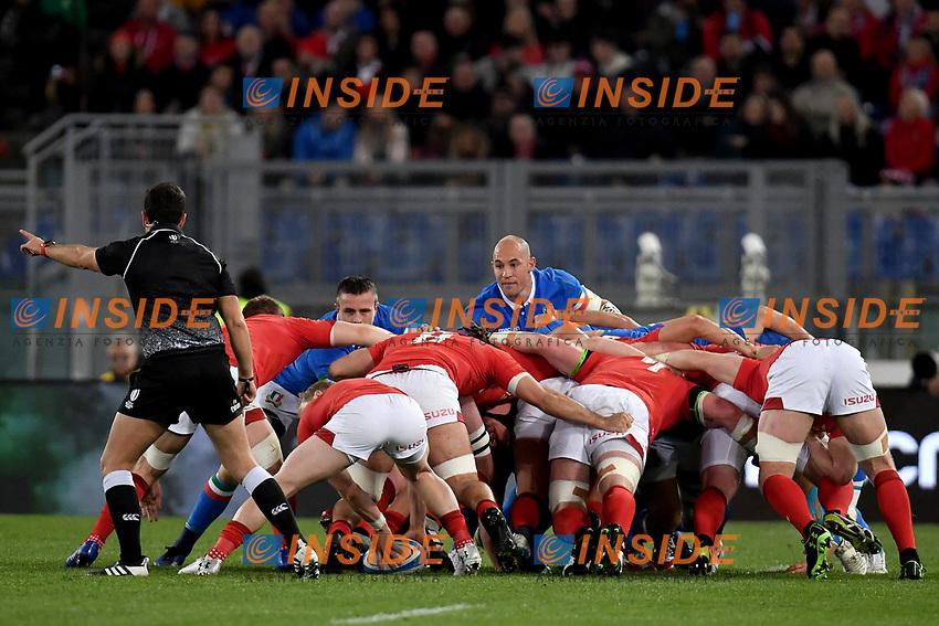 Scrum Sergio Parisse Italy.<br />  <br /> Roma 9-02-2019 Stadio Olimpico<br /> Rugby Six Nations tournament 2019  <br /> Italy - Wales <br /> Foto Antonietta Baldassarre / Insidefoto