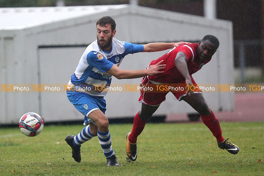 Connor Kain of Ilford and Christian Owusu of Walthamstow during Ilford vs Walthamstow, Essex Senior League Football at Cricklefields Stadium on 6th October 2018