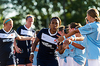Sky Blue FC defender Rachel Breton (28) greets players prior to playing the Washington Spirit . Sky Blue FC defeated the Washington Spirit 1-0 during a National Women's Soccer League (NWSL) match at Yurcak Field in Piscataway, NJ, on July 6, 2013.