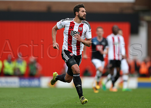 April 14th 2017,  Brent, London, England; Skybet Championship football, Brentford versus Derby County; Yoann Barbet of Brentford running