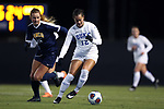 DURHAM, NC - NOVEMBER 11: Duke's Kayla McCoy (12) and UNCG's Emily Jensen (NZL) (15). The Duke University Blue Devils hosted the UNCG Spartans on November 11, 2017 at Koskinen Stadium in Durham, NC in an NCAA Division I Women's Soccer Tournament First Round game. Duke won the game 1-0.