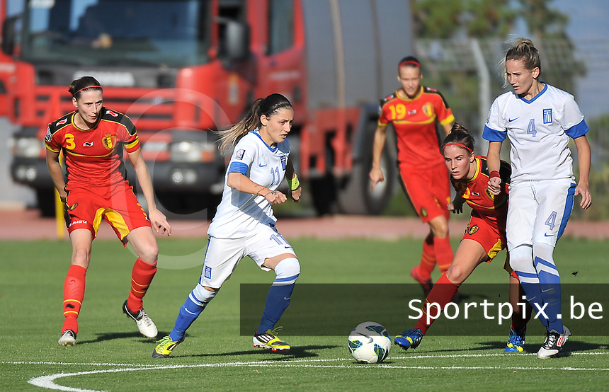20131026 - LIVADIA , GREECE : Greek Dimitra Panteliadou (11) pictured during the female soccer match between Greece and Belgium , on the third matchday in group 5 of the UEFA qualifying round to the FIFA Women World Cup in Canada 2015 at the Levadia Municipal Stadium , Livadia . Saturday 26th October 2013. PHOTO DAVID CATRY