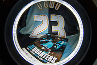 Gozie Ugwu of Wycombe Wanderers  shirt and programme during the Sky Bet League 2 match between Wycombe Wanderers and Luton Town at Adams Park, High Wycombe, England on 6 February 2016. Photo by Andy Rowland.