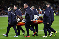 Tammy Abraham of Swansea City leaves the pitch on a stretcher during the Premier League match between Burnley and Swansea City at Turf Moor, Burnley, England, UK. Saturday 18 November 2017