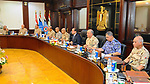 Egyptian President Abdel Fattah al-Sisi chairs a meeting of the supreme council of the armed forces, in Cairo, Egypt, on July 29, 2017. Photo by Egyptian President Office