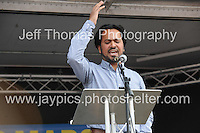 Peoples March for the NHS - Central London, Saturday 6th Sept 2014 - <br /> <br /> A speaker in support of the NHS rally<br /> <br /> <br /> <br /> <br /> Photographer: Jeff Thomas - Jeff Thomas Photography - 07837 386244/07837 216676 - www.jaypics.photoshelter.com - swansea1001@hotmail.co.uk