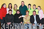 Charity: Receiving a cheque for MS, on behalf of the Ballyheigue Youth Centre, on Friday night in Ballyheigue Community Centre. Front l-r: Pauline Horgan, Margaret Dineen, MS Tralee Branch members Audrey Moran and Sean Moran. Back l-r: Aileen Corridon, Sarah Galway, Laura Reidy, John Tynan, Padraig Behan, Gary Galway and Marie Russell..